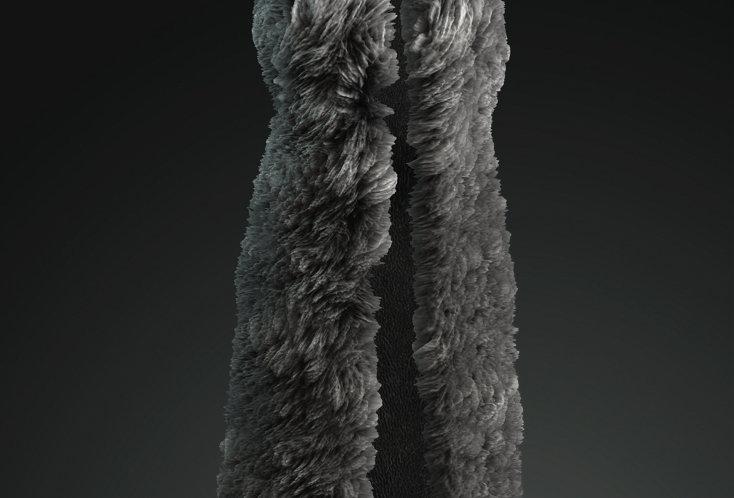 Medieval woman  Long Wolf fur vest