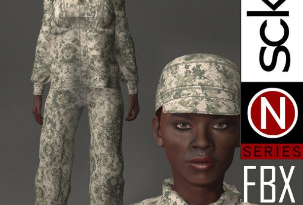 N Series MILITARY Soldier Woman 2 FBX
