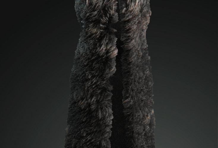 Medieval long bear fur vest