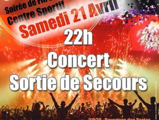 Samedi 21 Avril, Centre sportif les Ménuires, www.sortiedesecours.fr en Concert, 22h00