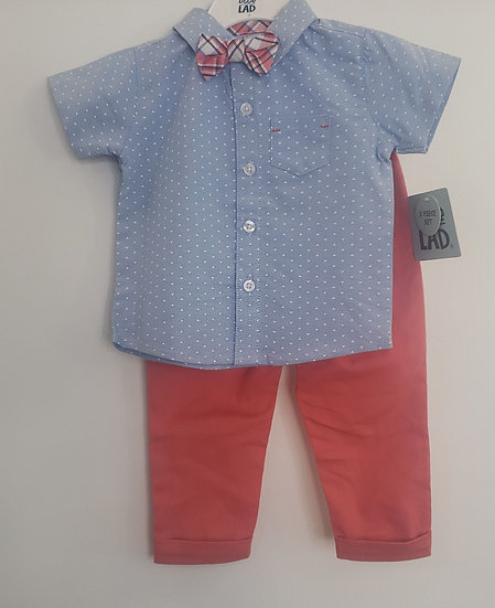 Light Blue Kids Triangle Dress Shirt with Plaid Bowtie and Coral Pants