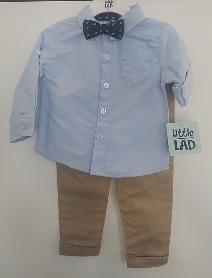 Light Blue Kids Dress Shirt with Dinosaur Bowtie and Khaki Pants