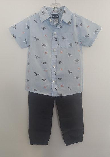 Dinosaur Dress Shirt with Grey Pants