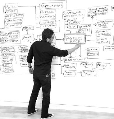 This is me drawing a site map on the whiteboard.