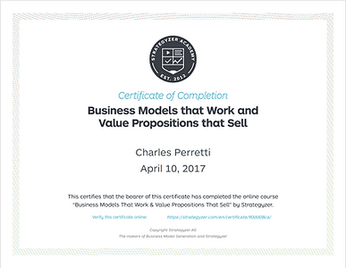 Business model canvas and Value proposition certificate.