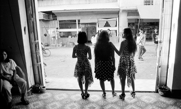 Three teenage Vietnamese girls work in a brothel located 11 kilomters from Phnom Penh, Cambdia. 1995