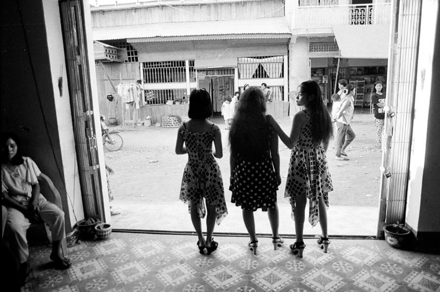 Three teenage Vietnamese girls work in a brothel located 11 kilomters from Phnom Penh, Cambdia. 1995