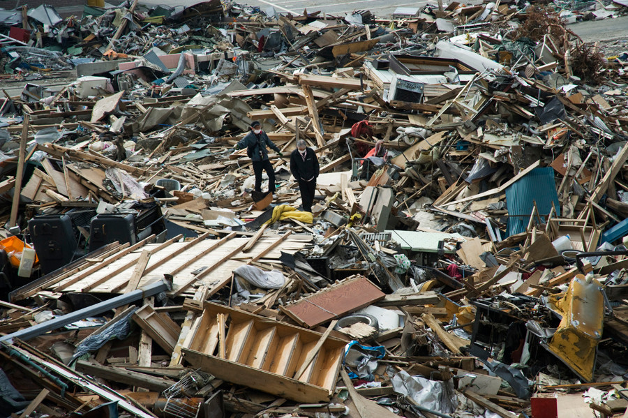 Devastation from the 2011 Japan tsunami in Ofunato. 2011
