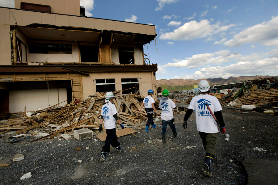 Habitat for Humanity volunteers working on cleanup at a tsunami affected area in Ofunato, Japan. 2011