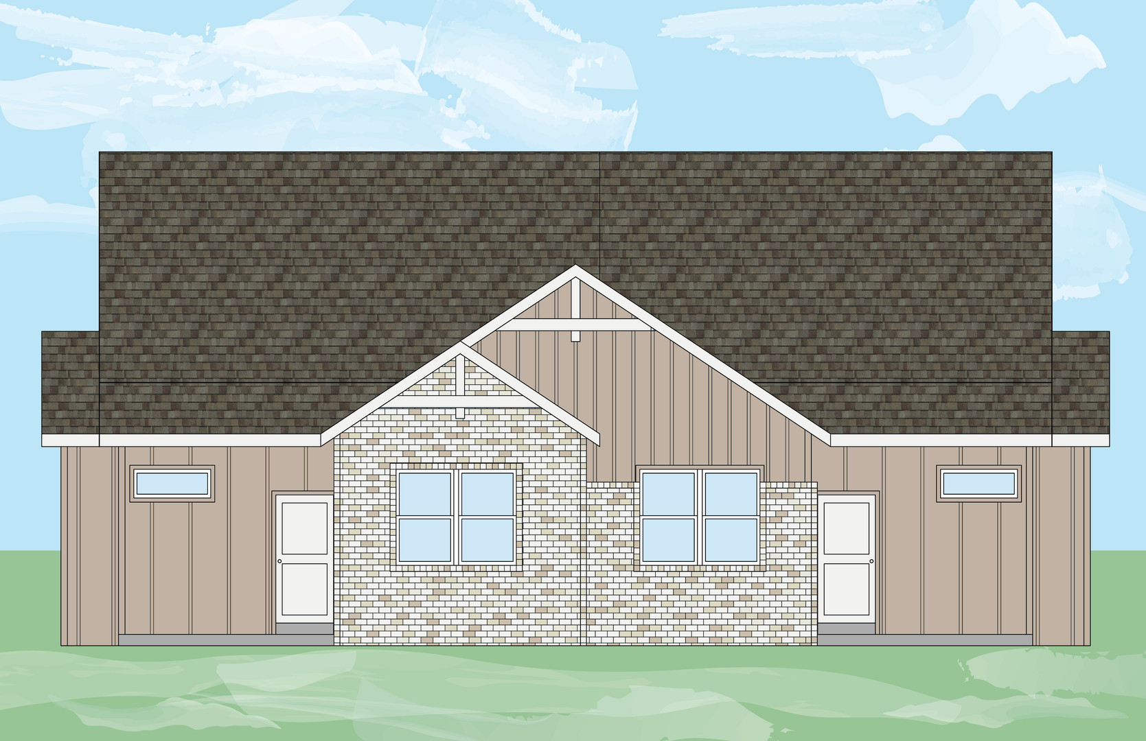 Cattail Ranch house 2 - with background-