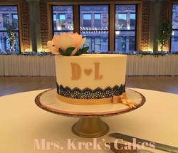 Gold, Blush, Navy Lace Cake