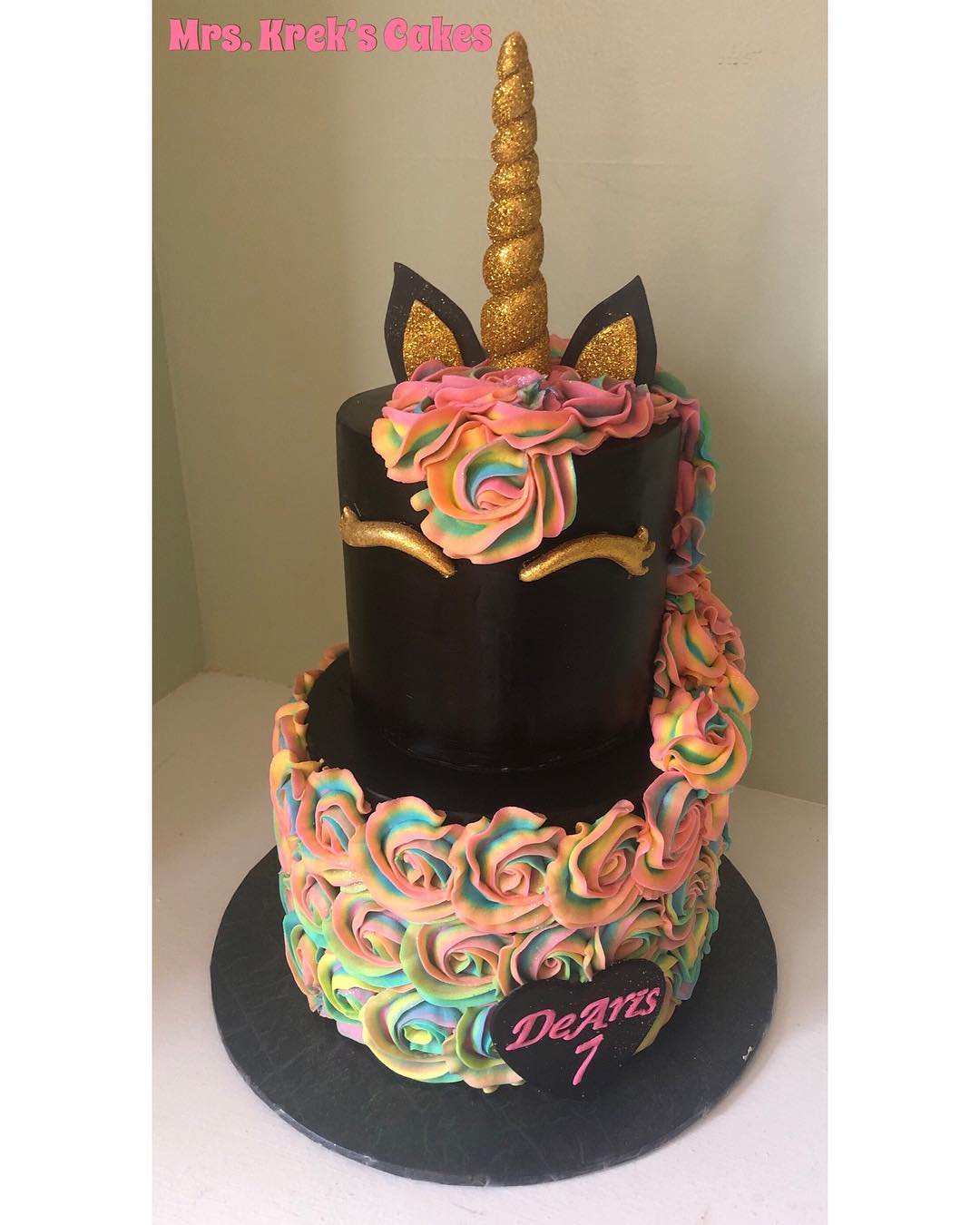 Black Unicorn Cake