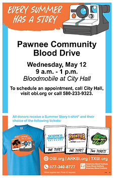 Pawnee Community Blood Drive May   2021.