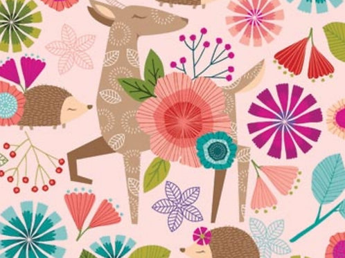 Forest Frolic - Animals Main in Pink by Northcott Fabrics