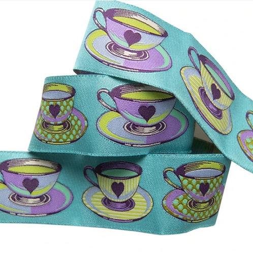 Big Tea Time 1 & 1/2in Ribbon in Blue by Tula Pink (Price Per 1/2 Yard)