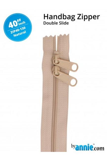 "40"" Double Slide HandBag Zipper in Natural By Annie"