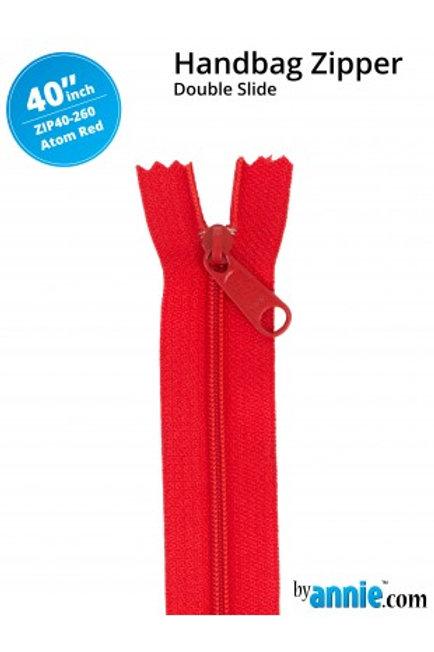 "40"" Double Slide HandBag Zipper in Atom Red By Annie"