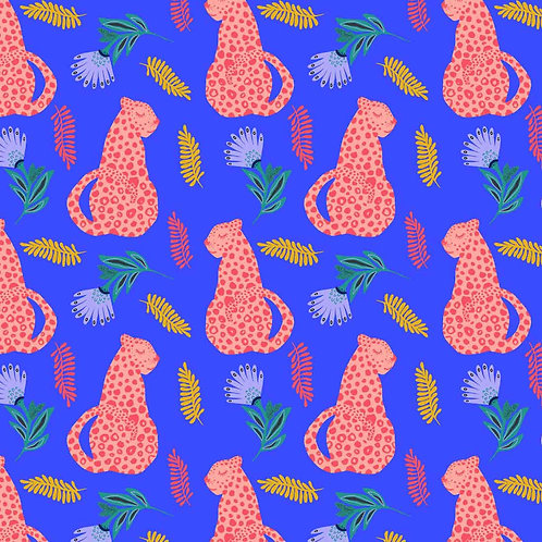 Craft Cotton Co Tropical Leopard - Leopard on Royal