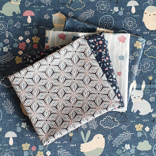 Michael Miller Forest Friends Fat Quarter Bundle - Blue