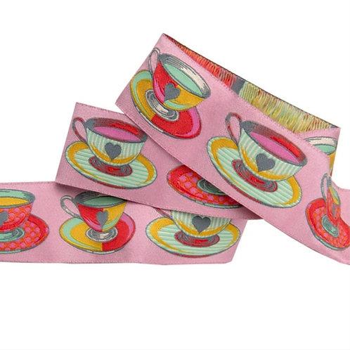*PRE-ORDER* Big Tea Time 1 & 1/2in Ribbon in Pink by Tula Pink (Price Per Yard)