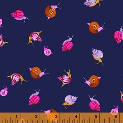 Windham Fabrics Snails in Indigo from Heather Ross' 20th Anniversary