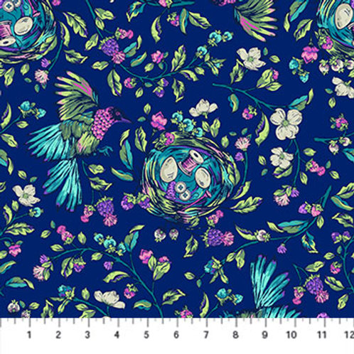 Songstress in Navy Multi - Stag & Thistle by Northcott Fabrics