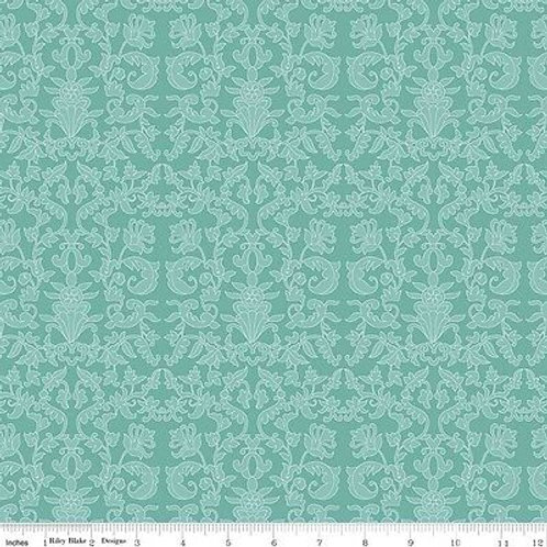 90cm Remnant Riley Blake Into The Garden Damask in Green