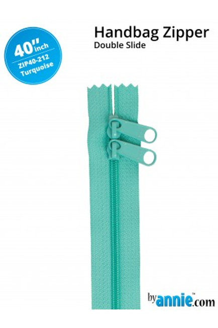 """40"""" Double Slide HandBag Zipper in Turquoise By Annie"""