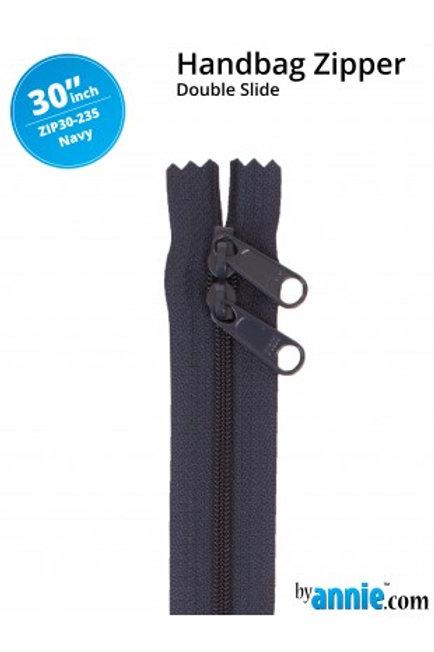 "30"" Double Slide HandBag Zipper in Navy By Annie"