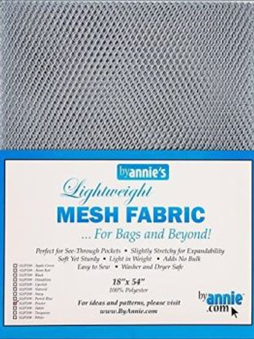 By Annie Mesh Fabric in Pewter 1/2 Yard (18in x 54in) Package