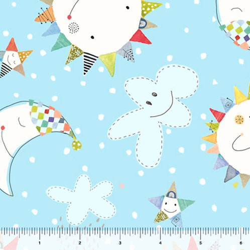 Quilting Treasures Lil' Sunshine Sun & Moon Toss in Blue by Turnowsk