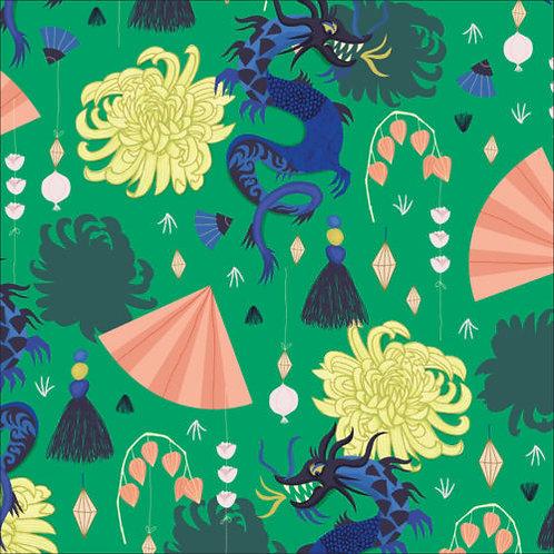 48cm Bolt End Cloud9 Dragons & Lanterns - Fierce Green