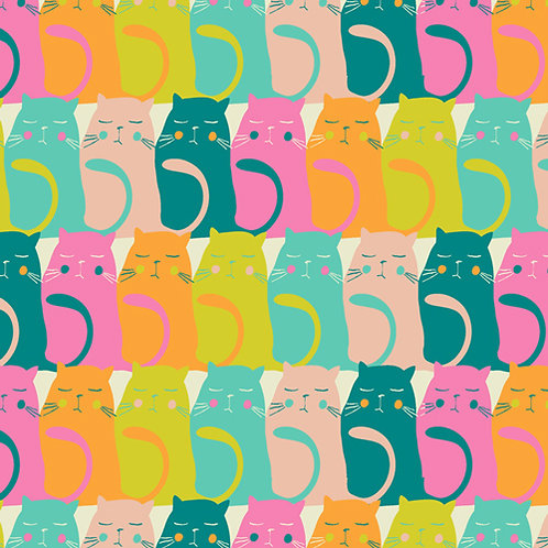 Cattitude Snooze  - Oh Meow by Jessica Swift for Art Gallery Fabrics