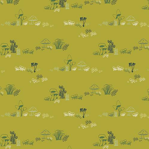 104cm Bolt End Dew & Moss by Art Gallery Fabrics - Gnomes Mushroom Homes