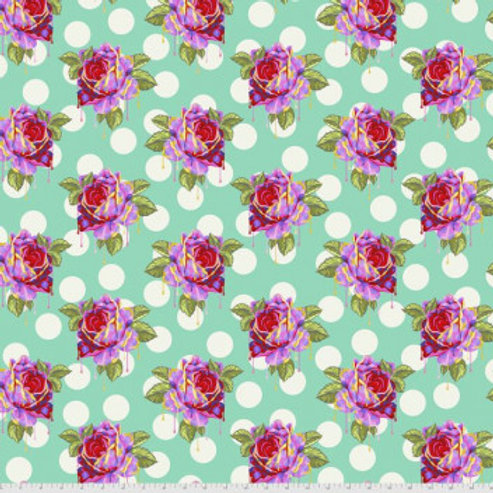 Tula Pink Curiouser and Curiouser Painted Roses in Wonder - £3.75fq/£15.00pm