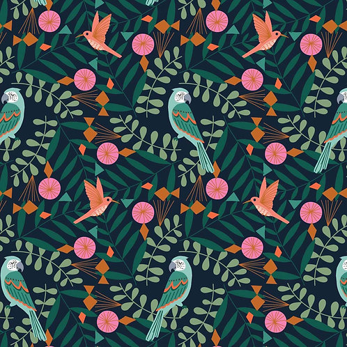 Dashwood Studio Our Planet Parrots in Navy
