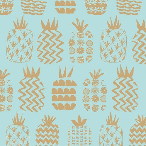 Dashwood Studios Ocean Drive - Pineapples Pale Blue (Metallic)
