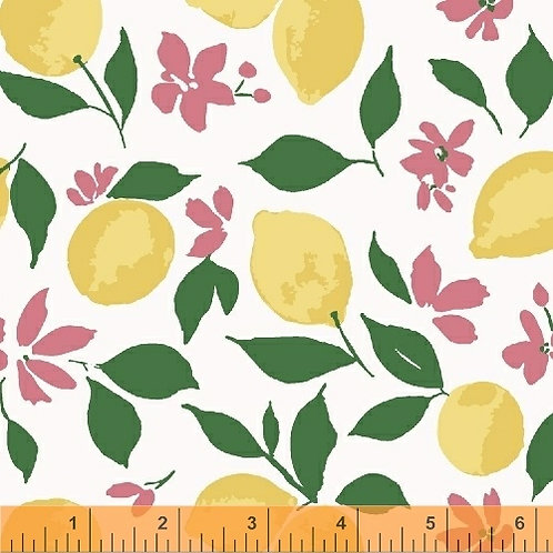 Windham Fabrics Pink Lemonade - Lemons on White