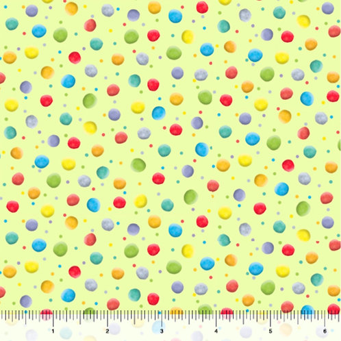 Quilting Treasures Lil' Sunshine Dots in Lime Green by Turnowsky