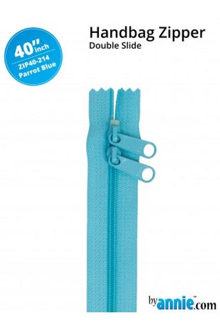 "40"" Double Slide HandBag Zipper in Parrot Blue By Annie"