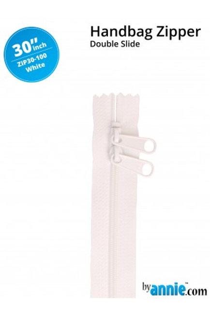 "30"" Double Slide HandBag Zipper in White By Annie"