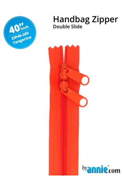 "40"" Double Slide HandBag Zipper in Tangerine By Annie"