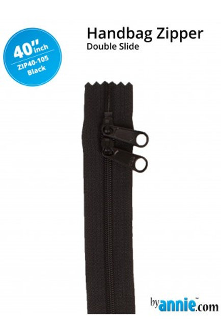 "40"" Double Slide HandBag Zipper in Black By Annie"