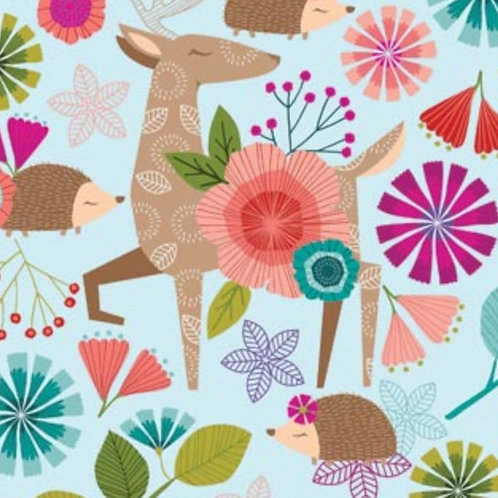 Forest Frolic - Animals Main in Blue by Northcott Fabrics