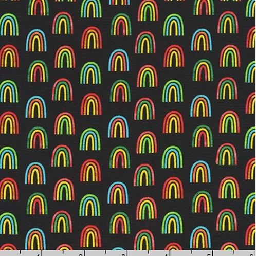 Robert Kaufman Chili Smiles Rainbows in Black