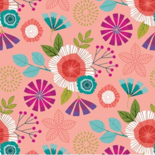 Forest Frolic - Flowers in Peachy Pink by Northcott Fabrics