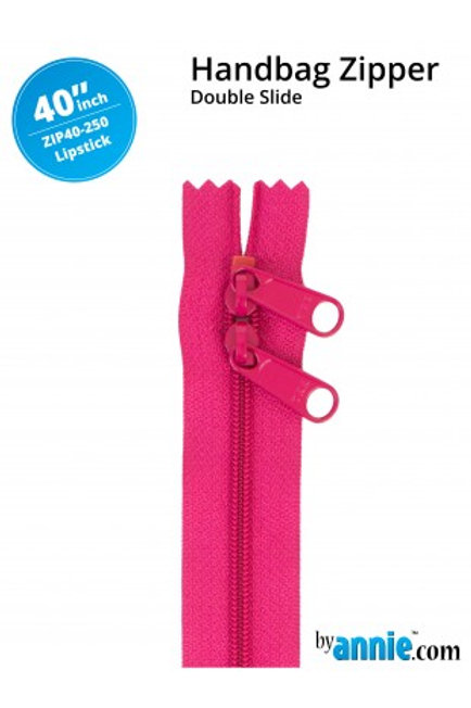 "40"" Double Slide HandBag Zipper in Lipstick By Annie"