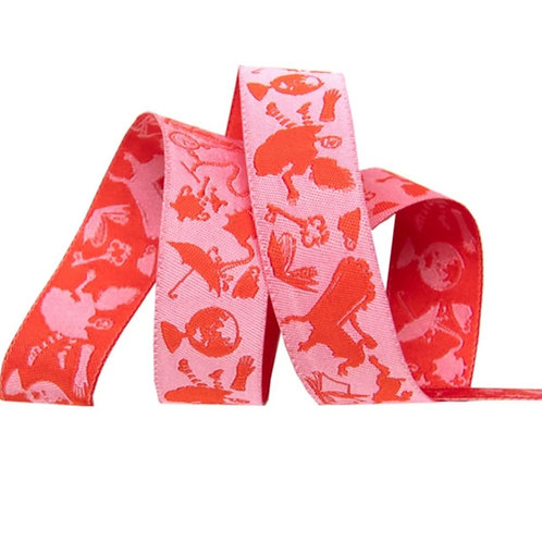 *PRE-ORDER* Down The Rabbit Hole Pink 7/8in Ribbon by Tula Pink (Price Per Yard)