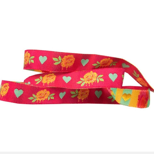 *PRE-ORDER* Painted Roses 5/8in Ribbon in Pink by Tula Pink (Price Per Yard)