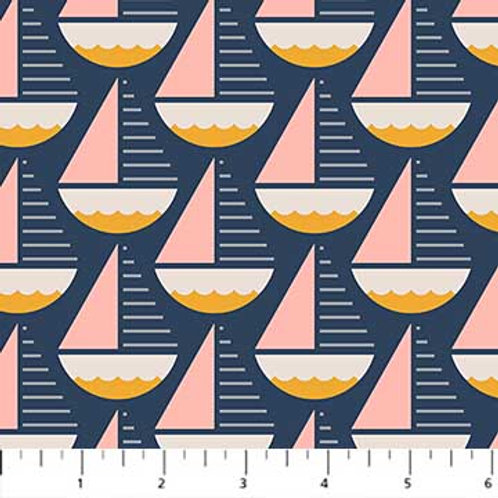 Figo Fabrics Sunkissed - Boats in Navy